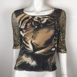 Vintage 90s y2k tiger leopard print mesh shirt S
